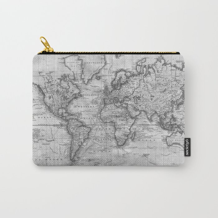 Black and White World Map (1801) Carry-All Pouch