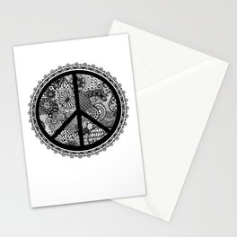 Zen Doodle Peace Symbol Black And White Stationery Cards