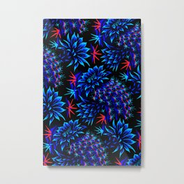 Cactus Floral - Bright Blue/Red Metal Print
