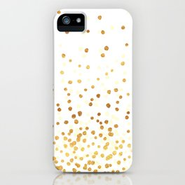 Floating Dots - Cream and Gold on White iPhone Case