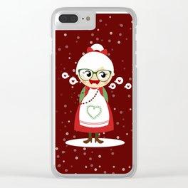 Mère Noël  (rouge avec flocons) Clear iPhone Case