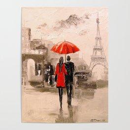 Walk in Paris rain Poster