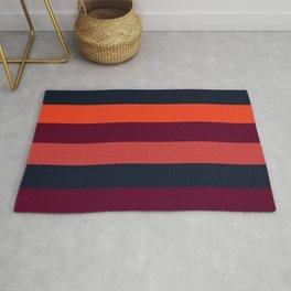 Maroon orange navy stripes Rug