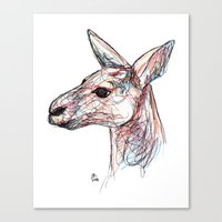kangaroo Canvas Prints featuring Kangaroo by Ursula Rodgers