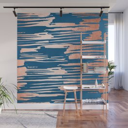 Tiger Paint Stripes - Sweet Peach Shimmer on Saltwater Taffy Teal Wall Mural