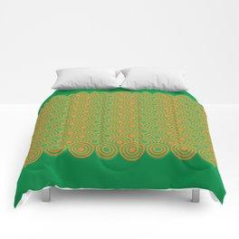 op art pattern retro circles in green and orange Comforters