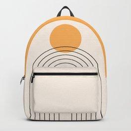 Mid Century Modern Geometric 70 (Rainbow and Sun Abstraction) Backpack