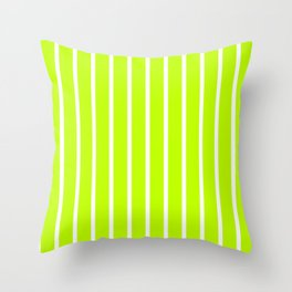 Vertical Lines (White/Lime) Throw Pillow