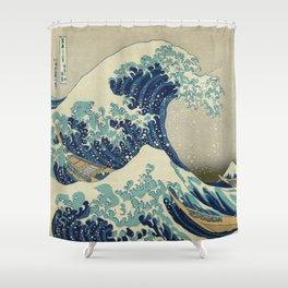 Illustration of blue japanese wave Shower Curtain