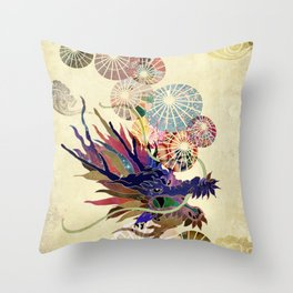 Dragon with unbrellas Throw Pillow