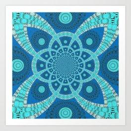 Sacred Geometry Blue Fractal Mandala Art Print