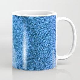 Sunflower Feather Bohemian Cool Blue Pattern \\ Aesthetic Vintage \\ Ice Snow Aqua Color Scheme Coffee Mug