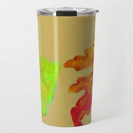 Fall Leaves, tan orange green gold, acrylic painting and digital Travel Mug