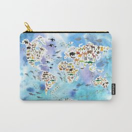 Cartoon animal world map, back to school. Animals from all over the world, blue watercolour watercolor Carry-All Pouch