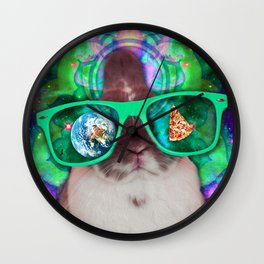Rabbit in Space Wall Clock