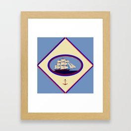 A Nautical Scene with Clipper Ship with Country Blue Background Framed Art Print