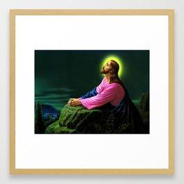 Jesus Christ Praying Prayer religious Christian art Framed Art Print