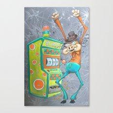 Skinny Pig playing Slot Machine Canvas Print