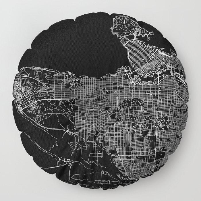 Vancouver Black Map Floor Pillow