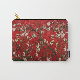 Abstract Daisy With Red Background Carry-All Pouch