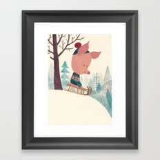 Winter pig Framed Art Print