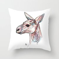 kangaroo Throw Pillows featuring Kangaroo by Ursula Rodgers