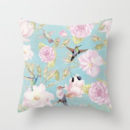 Pastel Teal Vintage Roses and Hummingbird Pattern Throw Pillow