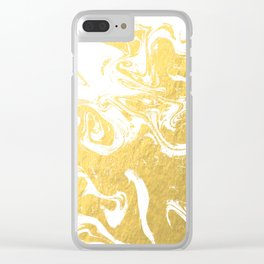 Suminagashi spilled ink gold marble marbled pattern japanese minimalist nursery dorm college Clear iPhone Case