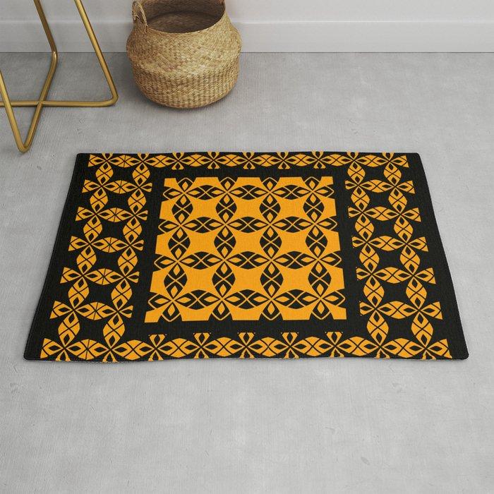 African Ethnic Pattern Black And Orange Rug By Annalemos