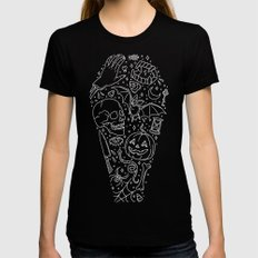Halloween Horrors SMALL Black Womens Fitted Tee