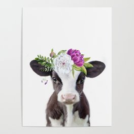 Baby Cow with Flower Crown Poster