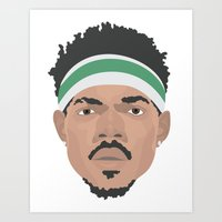 chance the rapper Art Prints featuring Chance The Rapper by Josh Pearson