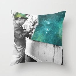 KID PAINTING THE UNIVERSE Throw Pillow