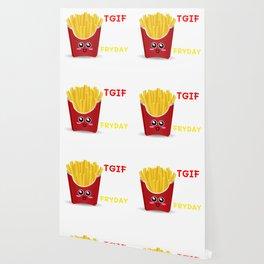 TGIF Thank God It's Fryday Cute French Fries Pun Wallpaper