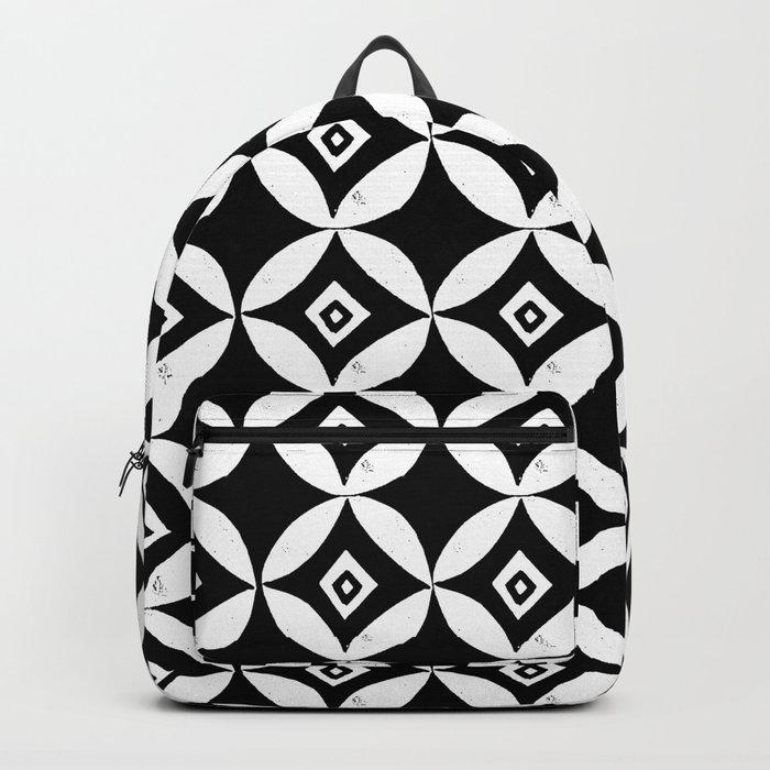 Linocut minimal scandinavian stars circles geometric black and white pattern Backpack