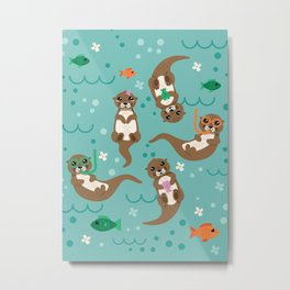 Kawaii Otters Playing Underwater Metal Print