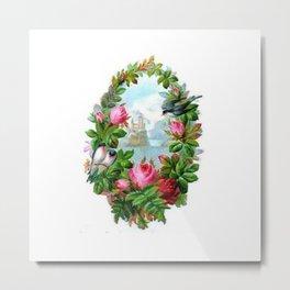 Vintage Floral Wreath Metal Print