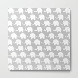 Elephant Parade on Grey Metal Print
