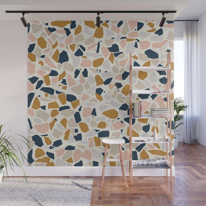Terrazzo Mosaic Pattern, Gold, Navy, Blush Pink, Neutrals Wall Mural