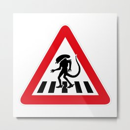 Alien Crosswalk Sign 2 Metal Print