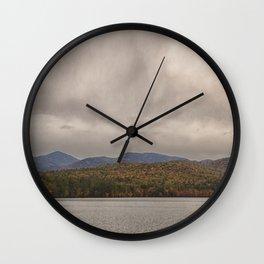 Mountains and lake Wall Clock