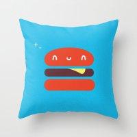 burger Throw Pillows featuring BURGER by Wet Pet