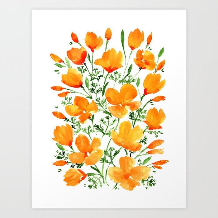 Watercolor California poppies Art Print