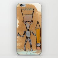 novelty iPhone & iPod Skins featuring Lil' Dorkbot and the Novelty Pencil by Taylor Winder