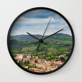 Beautiful spring froggy landscape in Tuscany countryside, Italy Wall Clock