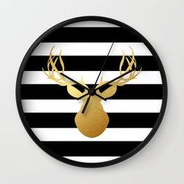 Deer head silhouette - Gold foil black and white stripe design Wall Clock