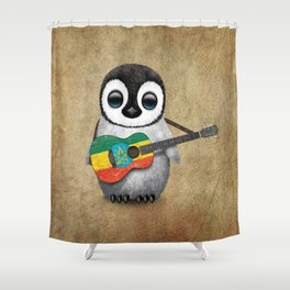 Baby Penguin Playing Ethiopian Flag Acoustic Guitar Shower Curtain