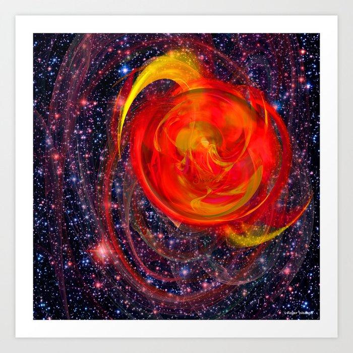 Red Star Burst Art Print