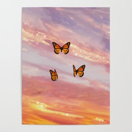 Butterfly Sunset Aesthetic Poster