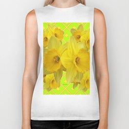 Lime Color & Yellow Daffodils Pattern Art Biker Tank
